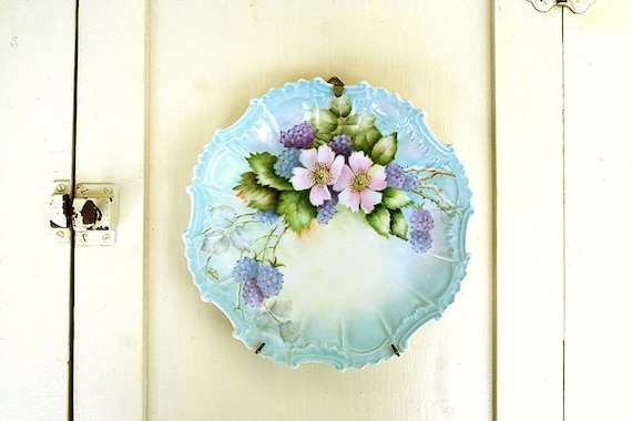 Amazing Handpainted Berries Decorative Plate Scalloped with Intricate Edging Ready to Hang