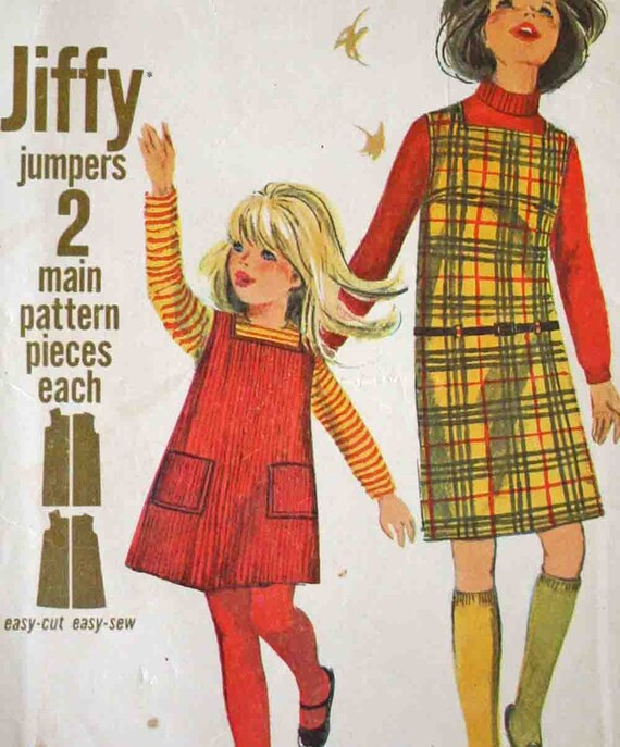 Vintage 60s Girls Jumper Sewing Pattern Simplicity 6704 Size 10 Chest 28 A Line