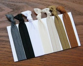 Basic 7 Collection Hair Ties for Ponytails & Wrists PERFECT for dreads: Gun Metal, Black, White, Ivory, Champagne, Latte, Spice Brown