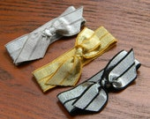 Elastic Hair Ties : LUXE Metallic Glam Collection Gentle Hairties for Ponytails & Wrists in Silver, Gold, Graphite