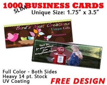 1000 SLIM Full Color Business Cards with FREE DESIGN