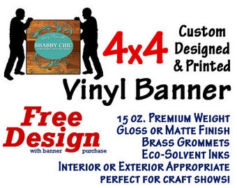 4x4 Custom Designed and Printed  Square Vinyl Banner GREAT 4 CRAFT SHOWS