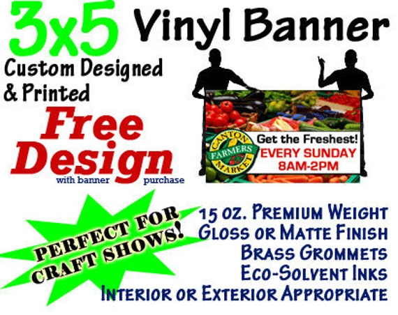 3x5 Custom Designed and Printed Vinyl Banner GREAT 4 CRAFT SHOWS
