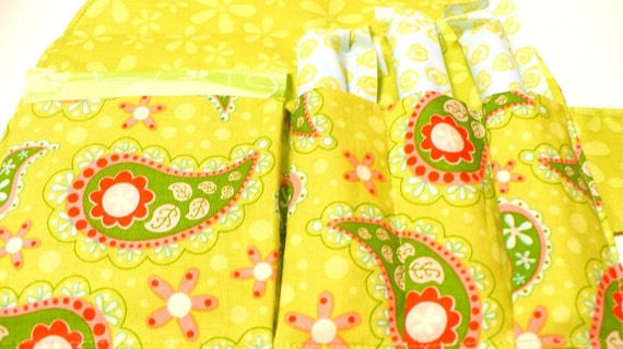 Privacy Pouch - Holds Tampons and Pads -Riley Blake Paisley Lime- Ready to Ship