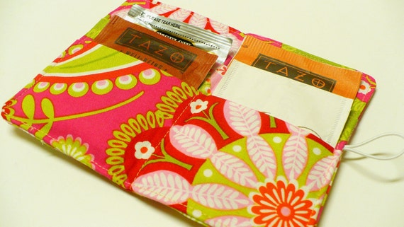 Tea Bag Holder Wallet  - Michael Miller Gypsy Bandana Gypsy Paisley Pink/Lime - Ready to ShipTea Bag Wallet Holder