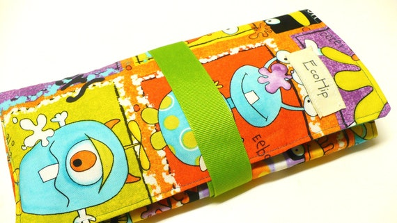 Traveling Activity Wallet - holds crayons, chalk, pencils and more -  Monsters...Eek - Ready to Ship