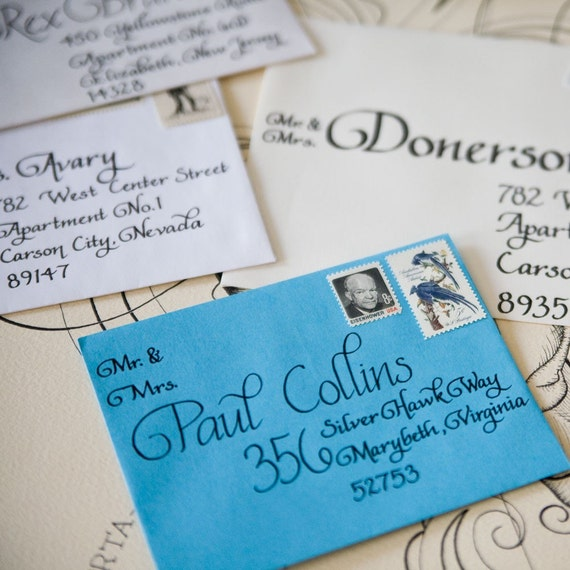 Handwritten Wedding Invitations Envelopes: Items Similar To Hand Addressed Envelopes On Etsy