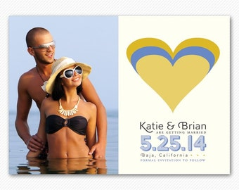 Photo Save The Date Magnet or Card - Modern Hearts