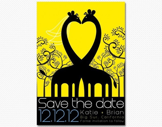 Giraffe Wedding Invitations: Save The Dates Giraffes And Hearts Card Or Magnet