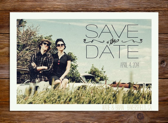 Save The Date Postcard or Magnet - Simple Vintage Engagement Card