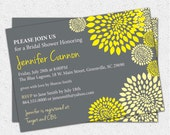 Bridal Shower Invitation Printable, Yellow and Charcoal Grey Floral Modern, DIY Digital File