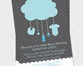 Printable Rain Cloud Baby Boy Shower Invitation, Light Blue Dark Grey DIY Digital File