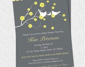 Printable Baby Shower Invitation Cherry Blossom, Birds, Boy or Girl Gender Neutral Yellow, Charcoal Grey Gray Personalized DIY Digital File