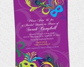 Bridal Shower Invitation, Printable, MardiGras, Mardi Gras, Wedding Invitation, Invitation, Masks, Masquerade, Birthday, DIY Digital File