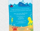 Under the Sea Baby Shower Invitation, Creatures Boy Girl Gender Neutral, Whale Fish Crab Printable DIY digital file