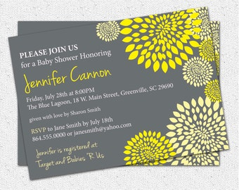 Baby Shower Invitation Printable Gender Neutral Boy or Girl Yellow and Charcoal Grey Gray Floral Modern, DIY Digital File