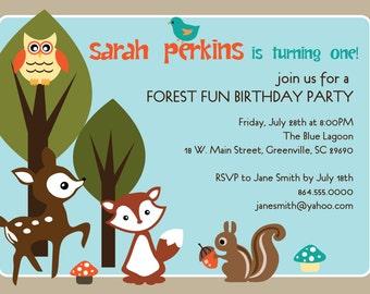 Printable Woodland Birthday Party Invitation, Animals Creatures Forest, Deer, Owl, Squirrel, Fox, boy or girl DIY digital file
