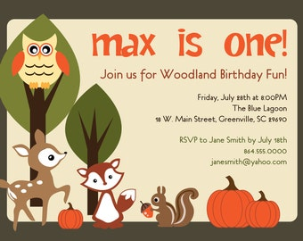Printable Woodland Pumpkins Birthday Invitation, Animals Creatures Forest, Deer, Owl, Squirrel, Fox, Boy or Girl DIY digital file
