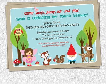 Printable Woodland Birthday Invitation, Enchanted Forest, Fairy, Gnome, Deer, Owl, Squirrel, Girl DIY digital file