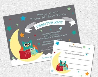 Baby Shower Invitation and Bookplate Set, Printable, Story Book Themed mom and baby Owl, Boy or Girl Gender Neutral, DIY Digital File