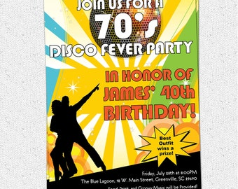 Printable Disco Ball 70's Seventies Themed Party Invitation, Birthday Dance Party, DIY digital file