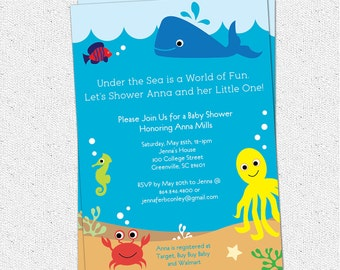 Under the Sea Baby Shower Invitation, Creatures Boy Girl Gender Neutral, Whale Fish Crab Printable DIY digital file
