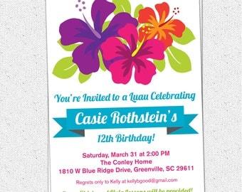 Printable Luau Birthday Invitation, Summer, Party, Hibiscus Flowers, Hawaiian, Baby Bridal Shower,DIY Digital File
