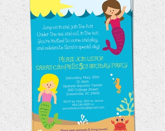 Mermaid Birthday Party Invitation, Printable, Girl, Under the Sea Life, Creatures, Summer, Pool, Lake, DIY digital file