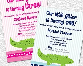 Alligator Gator Crocodile Birthday Party Invitation Printable, Modern, Preppy, Boy, Girl, Pink, Blue, Zoo, Summer, First, DIY Digital File