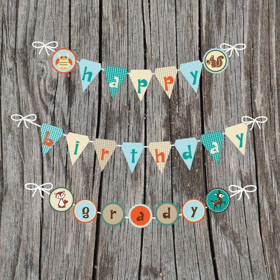 Printable Digital CUSTOM Woodland Birthday Pennant and Circle Banner, Friends, Creatures, Animals, Owl, Fox, Deer, Squirrel, Aqua