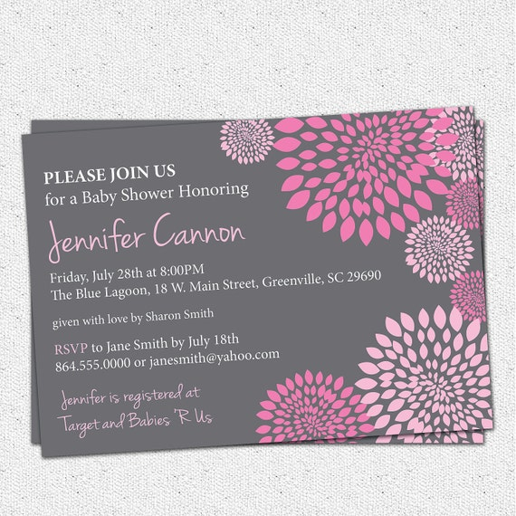Baby Shower Invitation Printable Girl Hot and Pale Pink and Charcoal Grey Gray Floral Modern, DIY Digital File