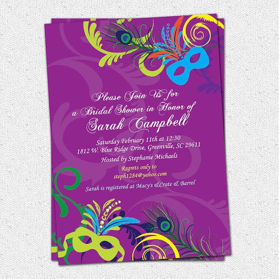 Bridal Shower Invitation, Printable, MardiGras, Mardi Gras, Wedding Invitation, Invitation, Masks, Masquerade, Birthday, DIY Digital File