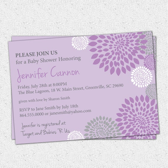 Baby Shower Invitation Printable Girl Purple and Lavender with Charcoal Grey Gray accent, Floral Modern, DIY Digital File