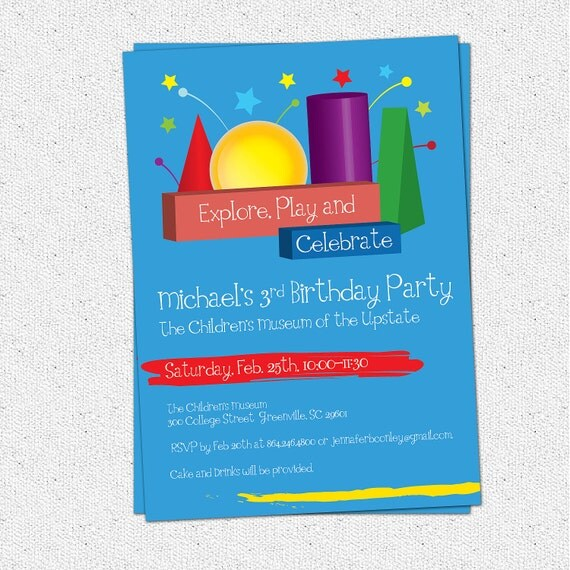 Printable Child's Birthday Party Invitation, Children's Museum, Shapes, Imagination, Learning Fun, Boy or Girl DIY Digital File