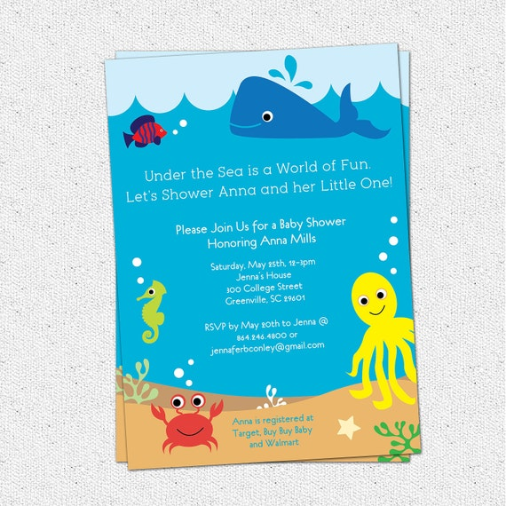 under the sea baby shower invitation creatures by ohcreativeone, Baby shower