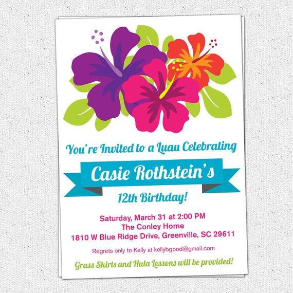 items similar to printable luau birthday invitation  summer  party  hibiscus flowers  hawaiian