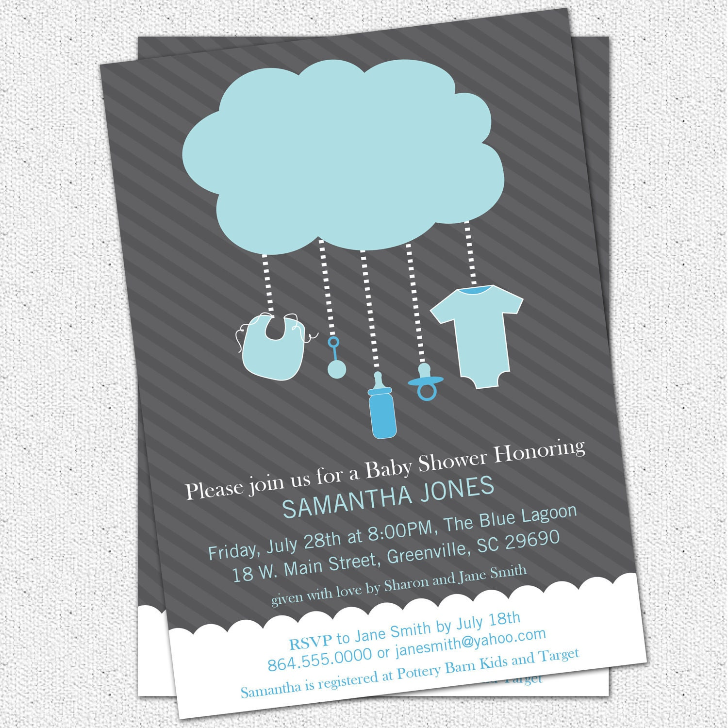 Printable Rain Cloud Baby Boy Shower Invitation Light Blue