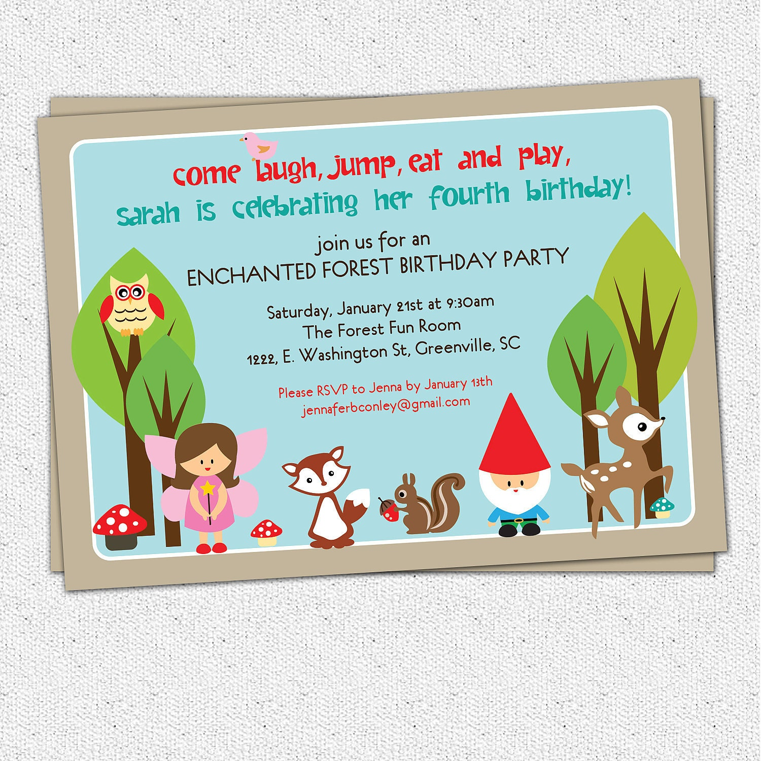 Printable Woodland Birthday Invitation Enchanted Forest