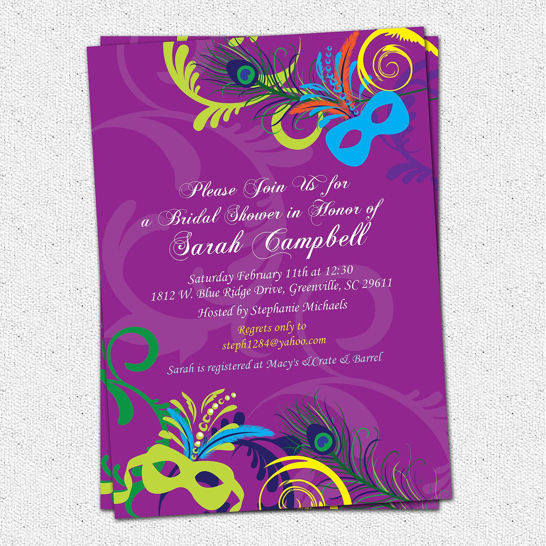 Bridal Shower Invitation Printable MardiGras Mardi Gras – Mardi Gras Birthday Invitations