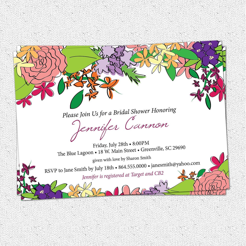 Bridal shower invitation printable floral garden flowers for Flower bridal shower invitations