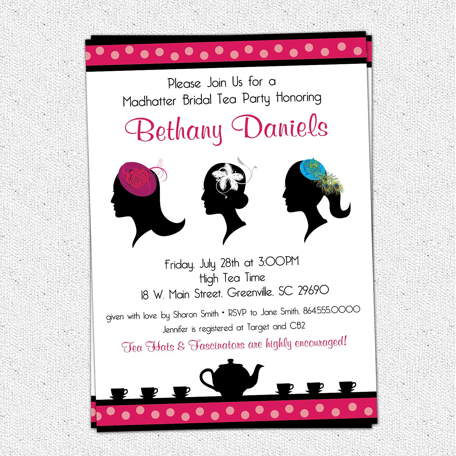 Madhatter Mad Hatter Tea Party Invitation by OhCreativeOne on Etsy