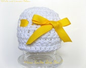 Crochet Baby Girl Hat- Baby Girl Beanie - Baby Hat  White with a Yellow Ribbon Chunky Crochet - Infant Newborn  -Photo Prop