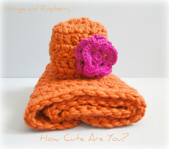 Private Listing for Mandie -Baby Blanket Girl  and Hat Set  Orange and Pink  Chunky  Crochet  - Photo Prop, Travel, Cradle, Lovey