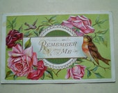 Pink Roses and Birds - Remember Me - Early 1900s - Antique American Postcard
