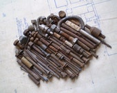 85 Rusty Metal Bolts, Nails and Parts - Industrial Salvage - Found Objects for Assemblage, Sculpture or Altered Art