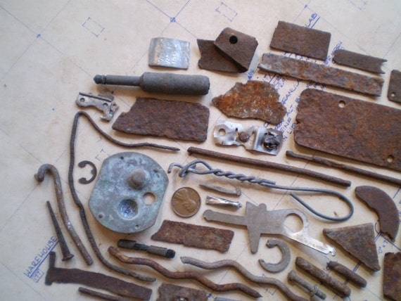 Lovely Rusty Metal Pieces - Found Objects for Assemblage, Jewelry or Altered Art - Salvaged Supplies