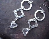 Fine Silver Earrings - Textured Geometric Shapes - Hearts - Swarovski Crystals -Hammered - Beaded Earrings