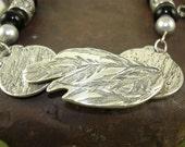 Woodlands Necklace-Designer Jewelry-Fine silver-Black Beaded Necklace