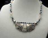 Fine Silver Tribal Blue Necklace-Original Design-Handmade-Circles of Life