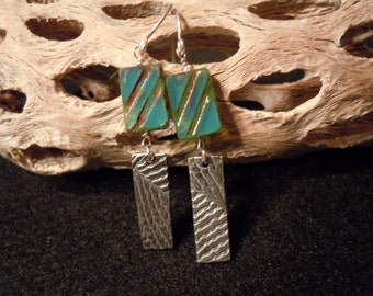 Fine Silver Earrings - Beaded - Picasso Czech Glass - Small Dangles - Turquoise Beads